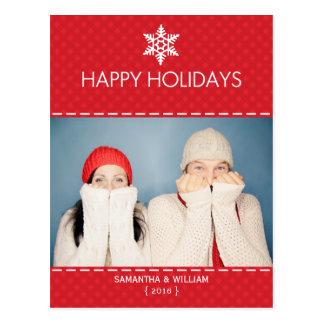 Bonnes fêtes carte postale rouge de vacances de pl