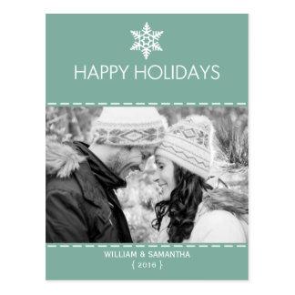 Bonnes fêtes carte postale turquoise de vacances