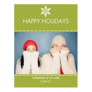 Bonnes fêtes carte postale verte de vacances de pl