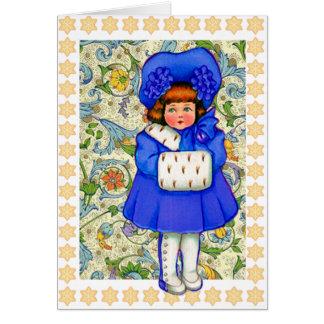 Bonnes fêtes carte vintage de fille d'hiver