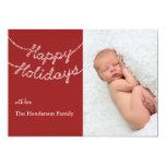 Bonnes fêtes dans le scintillement allume le carte invitations