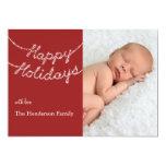 Bonnes fêtes dans le scintillement allume le carte carton d'invitation  12,7 cm x 17,78 cm