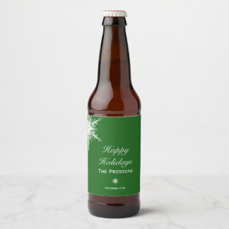 Bonnes fêtes étiquette de bière de flocon de neige