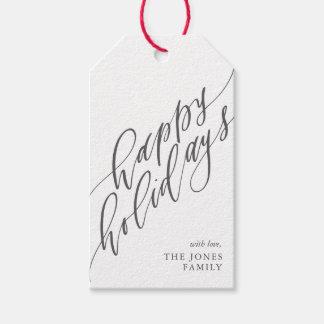 Bonnes fêtes étiquette de cadeau de calligraphie