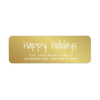 Bonnes fêtes étiquette imprimé à la main de étiquette d'adresse retour