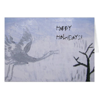 Bonnes fêtes grue de huée carte de vœux