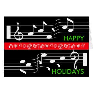 Bonnes fêtes noir de score de note de musique de cartes de vœux