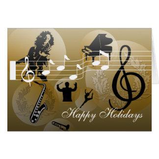 Bonnes fêtes or de musique d'amour de carte