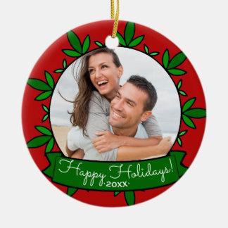 Bonnes fêtes photo de Noël personnalisée par Ornement Rond En Céramique