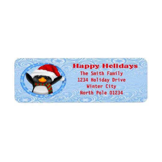 Bonnes fêtes pingouin mignon étiquette d'adresse retour