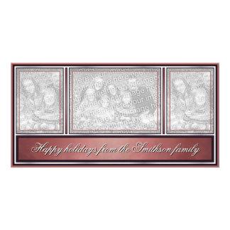 Bonnes fêtes rouge moderne élégant photocartes personnalisées