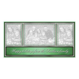 Bonnes fêtes vert moderne élégant photocartes