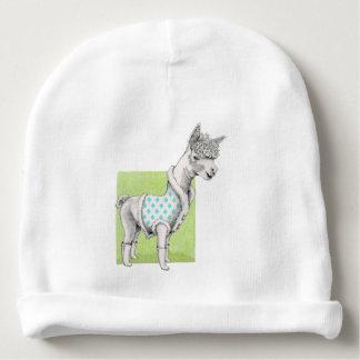 Bonnet De Bébé Alpaga sur la calotte verte de coton de bébé