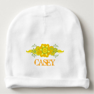 Bonnet De Bébé Assez le jaune fleurit le modèle de nom de pièce