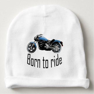 """Bonnet De Bébé Bonnet blanc bébé """"Born to ride"""", moto bleue"""