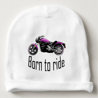 """Bonnet De Bébé Bonnet blanc bébé """"Born to ride"""", moto rose"""