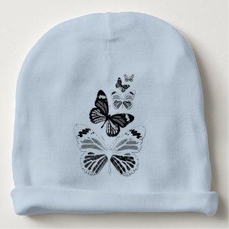 Bonnet De Bébé Bonnet de naissance bleu papillons noirs et blancs