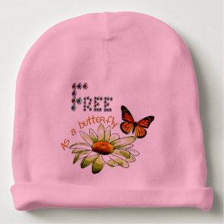 """Bonnet De Bébé Bonnet de naissance rose """"Free as a butterfly"""""""