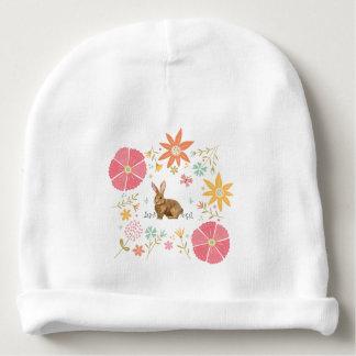 Bonnet De Bébé Calotte de coton de bébé avec les fleurs et le
