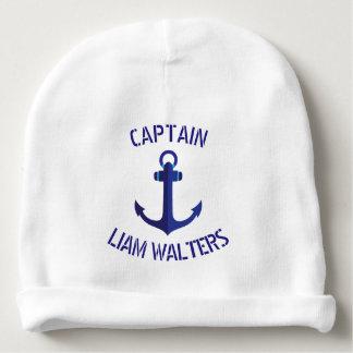 Bonnet De Bébé Capitaine de bateaux nautique stylisé d'ancre