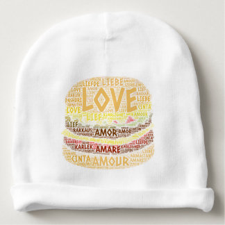 Bonnet De Bébé Hamburger illustré avec le mot d'amour
