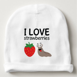Bonnet De Bébé J'aime l'illustration de fraises