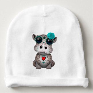 Bonnet De Bébé Jour bleu de l'hippopotame mort de bébé