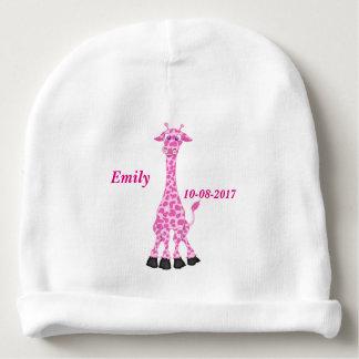 Bonnet De Bébé La girafe rose mignonne de l'enfant