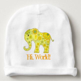 """Bonnet De Bébé L'éléphant fleurit le jaune """"salut, monde ! """""""