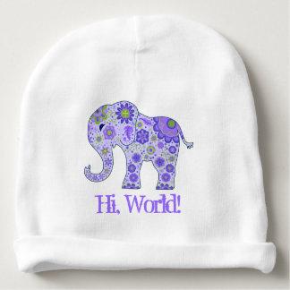 """Bonnet De Bébé L'éléphant fleurit le pourpre """"salut, monde ! """""""