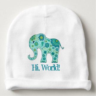 """Bonnet De Bébé L'éléphant fleurit Teal """"salut, monde ! """""""