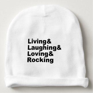 Bonnet De Bébé Living&Laughing&Loving&ROCKING (noir)