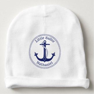 Bonnet De Bébé Marin nautique de bleu marine d'ancre personnalisé