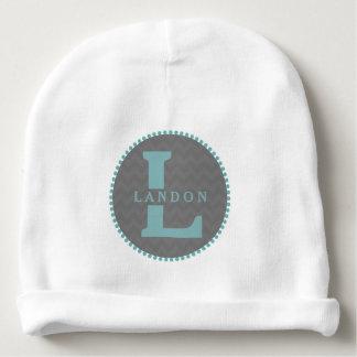 Bonnet De Bébé Monogramme bleu + Calotte grise de bébé de Chevron