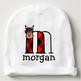 Bonnet De Bébé Monogramme m de plaid de casquette de Noël de