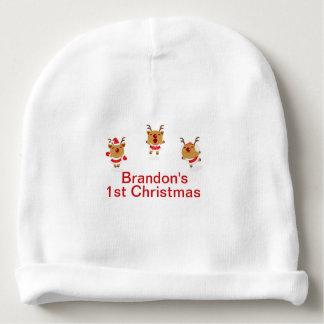 Bonnet De Bébé Noël de Joyeux Noël de renne de danse ęr premier