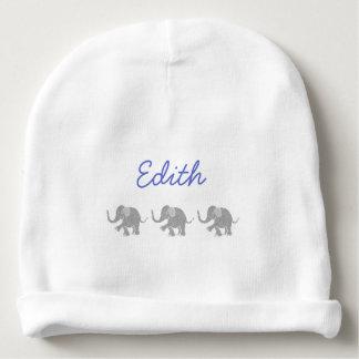 Bonnet De Bébé Nom bleu personnalisé avec les éléphants gris de