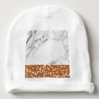 Bonnet De Bébé Parties scintillantes roses d'or de marbre