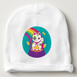 Bonnet De Bébé Pot de bonne chance de Maneki Neko de chat d'or