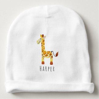 Bonnet De Bébé Safari unisexe mignon de girafe d'aquarelle avec