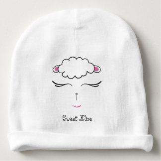 Bonnet De Bébé Visage mignon, rose et blanc d'agneau