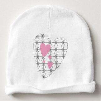 Bonnet de naissance blanc avec coeurs roses bonnet de bébé