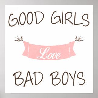 Bons garçons du mauvais d'amour de filles posters