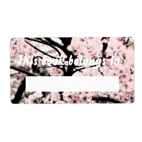Booklabel édité par fleurs de cerisier étiquettes d'expédition