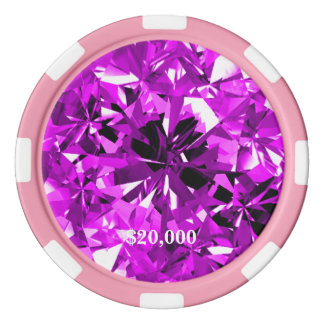 Bord violet de rayure de jeton de poker de gemme