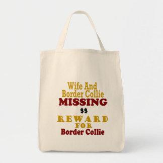 Border collie et récompense absente d'épouse pour sacs fourre-tout