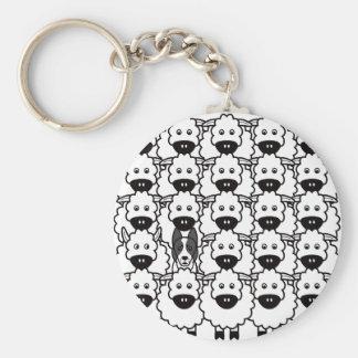 Border collie Lisse-Enduit chez les moutons Porte-clefs