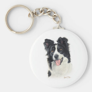 Border collie porte-clé rond