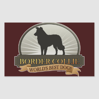 Border collie sticker rectangulaire