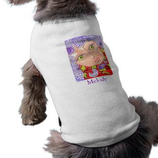 Bordure lilas de mélodie/chemise animal familier d t-shirt pour chien